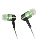 Luxmo Sound-Isolating Zip-Budz Earphones, Universal 3.5mm Zipper Headset (Green)