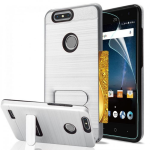 ZTE BLADE Z MAX PRO/SEQUOIA BRUSHED METAL CASE W/ HORIZONTAL KICKSTAND & CARD SLOT-SILVER