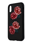 Sonix Embroidered Leather Case for Apple iPhone X/XS - Black/Red Roses