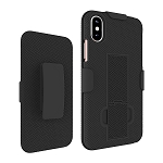 KuKu Mobile Rubberized Shell Case Holster for iPhone X, XS (Black)