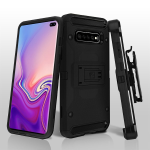 ASMYNA Black/Black Kinetic Hybrid Protector Cover Combo (w/ Holster) for Galaxy S10 plus