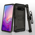 ASMYNA Dark Grey/Black Kinetic Hybrid Protector Cover Combo (w/ Holster) for Galaxy S10 plus