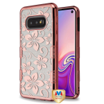 MYBAT Electroplating Rose Gold Hibiscus Flower (Transparent Clear) Full Glitter TUFF Hybrid Case for Galaxy S10E
