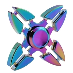 KuKu Fidget Hand Finger Quad Spinner Color Rainbow Aluminum Metal Toy - For Kids, Adult, Anxiety, Stress Relief , Desk