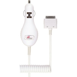 Wireless Solutions Slim Line Car Charger for Apple iPhone 4/4S, 3G/3S, iPod