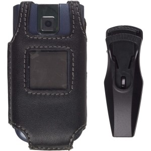 Black Leather Case w/ Swivel for Nokia 2605 Mirage