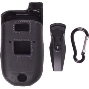 Ventev Leather Clip-On Case with Belt Clip for Motorola VA76r Tundra - Black