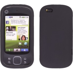 New Black Silicone Gel Skin Case for Motorola Cliq XT