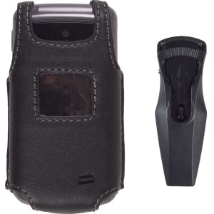 Black Leather Case + Swivel Belt Clip for LG VX5500