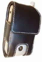 OEM Motorola Leather Pouch for Motorola T730, T731 (Black with White Stitching)