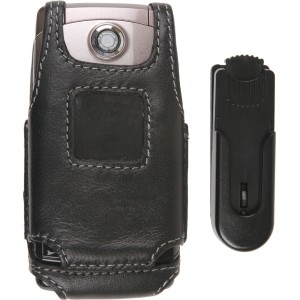 Ventev Fitted Leather Case w/ Swivel Belt Clip For LG UX380, AX380 WAVE  - Black