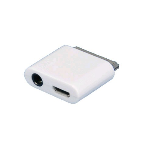 SellNet Micro USB Line Out Adapter Connector for Apple iPhone 3G/3GS 4/4S iPad 1/2 iPod, (White)