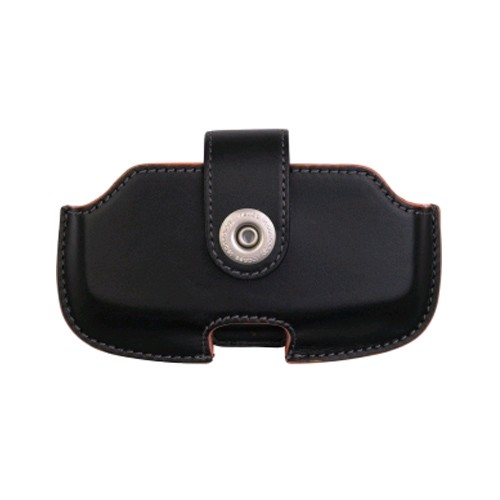 T-Mobile Sidekick Horizontal Leather Holster for Danger Sidekick - Black/Orange