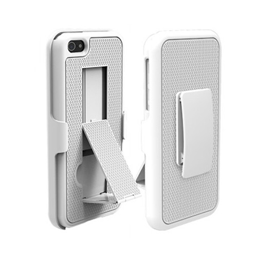 Puregear Rubberized Ribbed Texture Shell and Holster with Kickstand Belt Clip for Apple iPhone 5 (White) - 02-001-01859