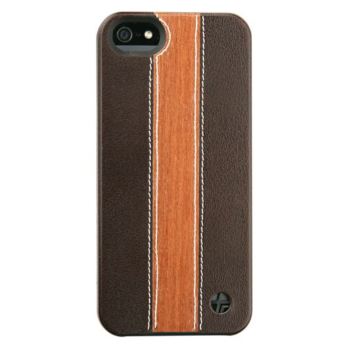 Trexta Wood and Leather Series Snap-On Case for Apple iPhone 5/5S - Cherry Wood/Brow