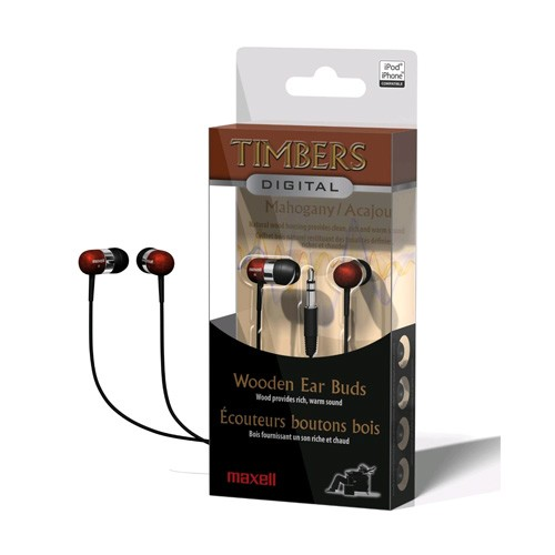 Maxell Timbers Wood Earbuds Mahogany. Retail