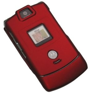 Rubberized Snap-On Case for Motorola Razr V3 - Merlot Red