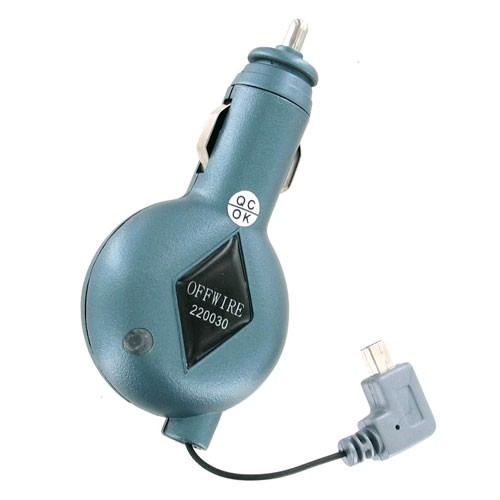 Offwire Retractable Mini USB Car Charger for Motorola V3 RAZR (Blue) - 220030