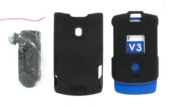 Snap On Case for Motorola RAZR V3 V3c - Black Rubber (With Belt clip)
