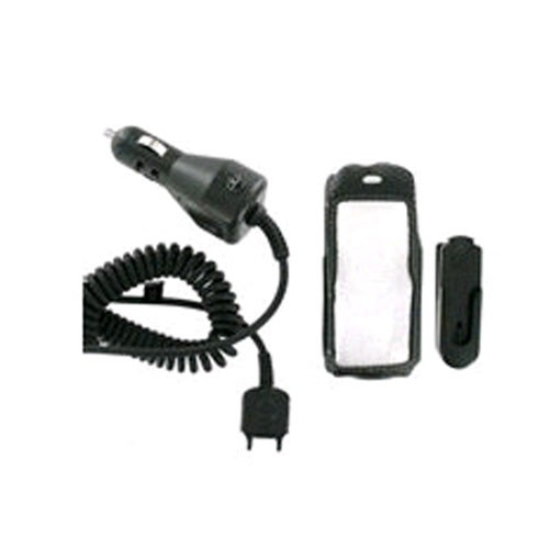 Wireless Solutions Leather Case & Car Charger for Sony Ericsson W200A (Black) - 301540