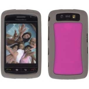 Ventev Two Tone Silicone Gel Case for BlackBerry Storm2 9520 - Gray/Watermelon