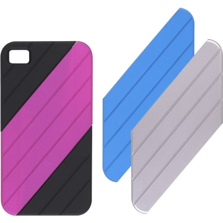 Ventev VersaDUO Snap-On Case for iPhone 4 (with Blue, Pink, Silver Inlay Pieces)