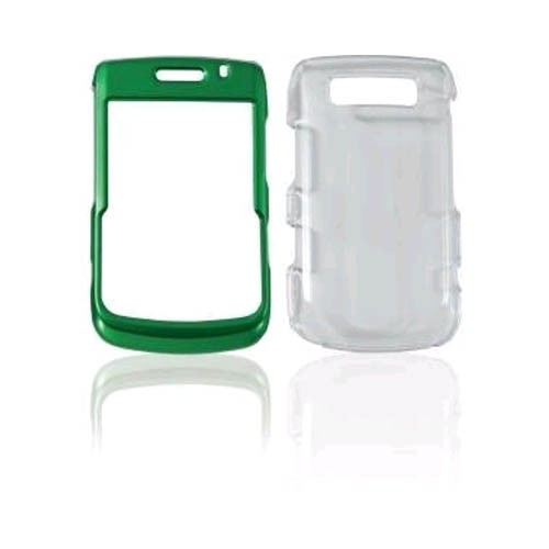 Ventev 3-in-1 High Gloss AlumiSNAP Snap-On Case for BlackBerry 9700 (Green/Clear)