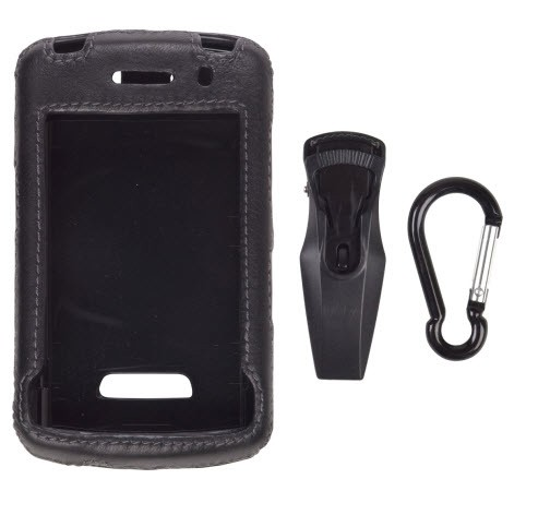 Wireless Solutions Leather Clip On Case for BlackBerry Storm 9530 - Black