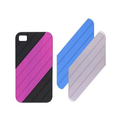 Ventev VersaDUO Snap-On Case for Apple iPhone 4/4s (Black Shell with Blue, Pink, and Silver Inlay Pieces)