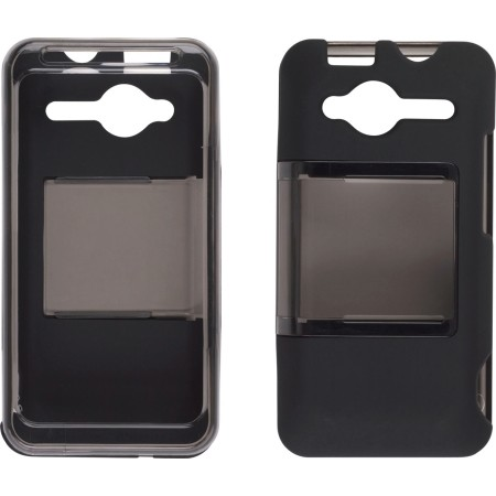 Hybrid Slide Snap On Case for HTC EVO Shift 4G - Smoke/Black