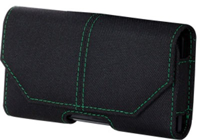 Xentris Wireless Eco-Friendly Universal RPET Pouch for Apple iPhone 4 / 4S - Black with Green Stitching