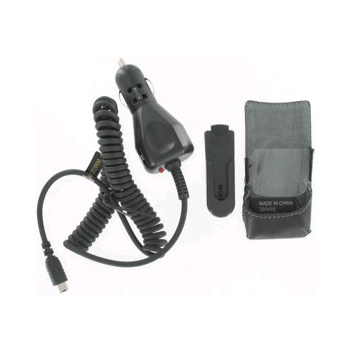 Wireless Solutions Leather Case & Car Charger for Motorola KRZR K1m (Black) - 341027-Z