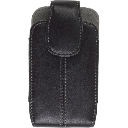 Black Fitted Leather Pouch Case for Pantech Slalom P7040