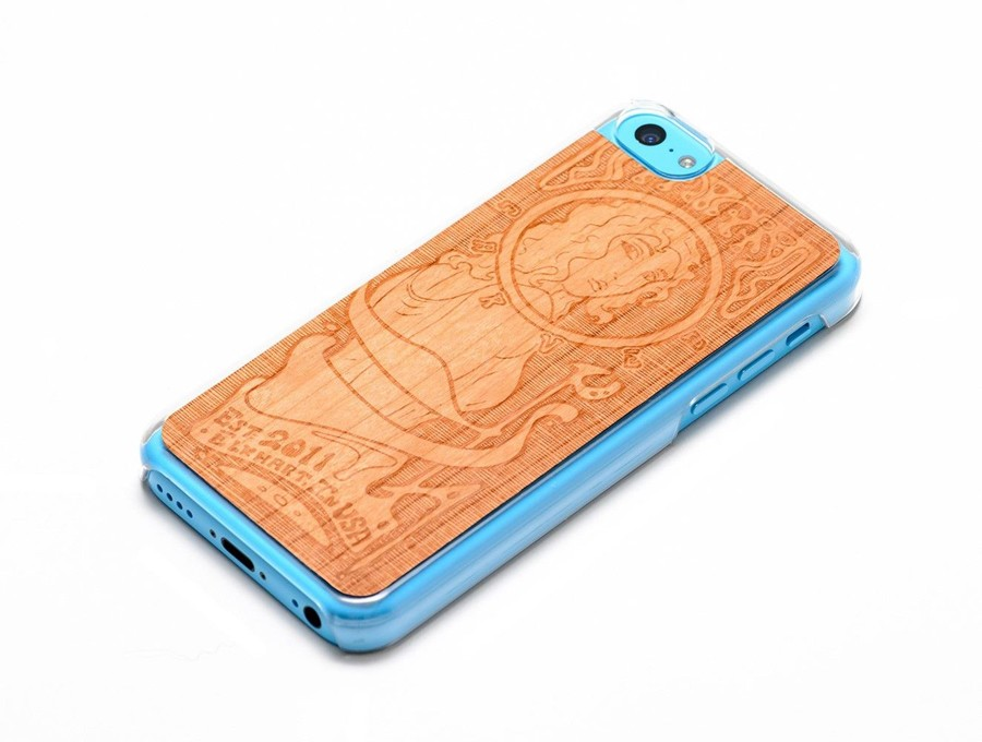 Carved - Engraved Cherry Wood Clear Case for Apple iPhone 5C - Art Nouveau