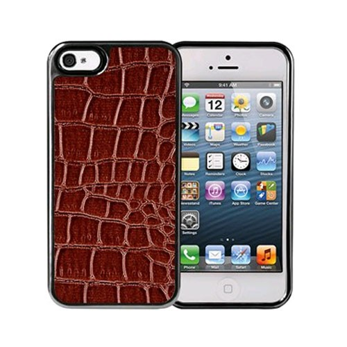 Xentris Wireless Hard Shell for Apple iPhone 5/5S - Brown Alligator/Gunmetal Trim