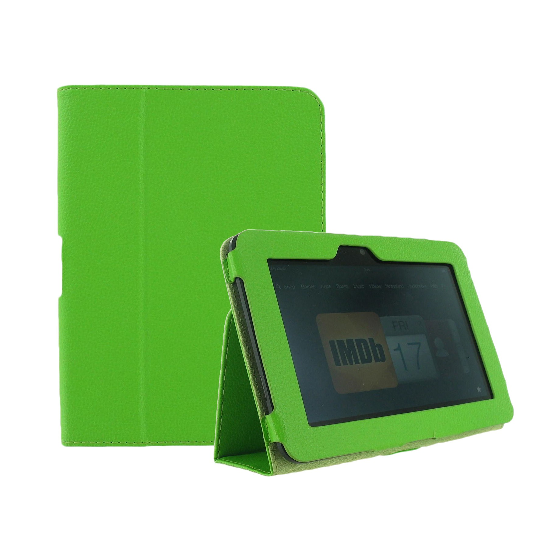 "Unlimited Cellular Leather Flip Book Case/Folio for Kindle Fire HD 7"" (2012 Version) - Green"