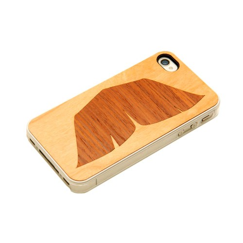 Carved - Cherry Wood Clear Case for Apple iPhone 4/4S - Walrus Mustache