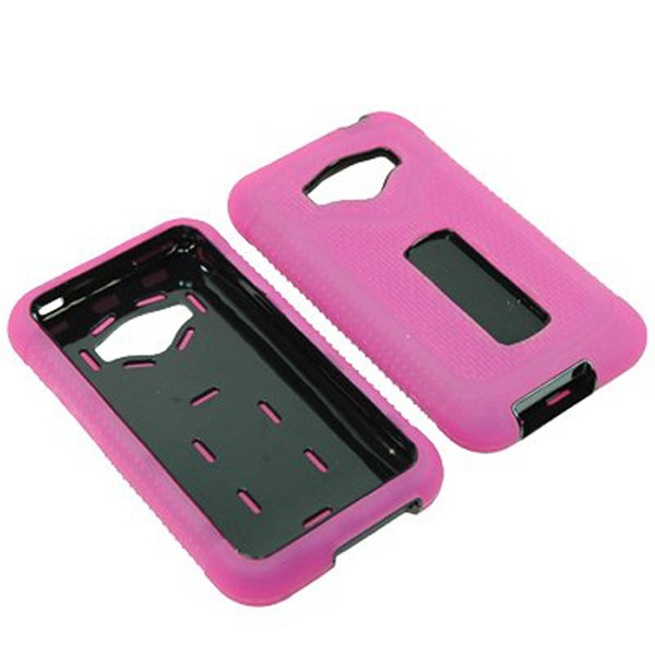Durable Rugged Refuge Hybrid Case for LG Optimus Elite/M+/Plus/Quest (Hot Pink/Black)