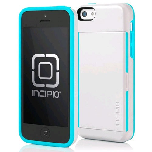 Incipio Stowaway Card Case with Stand for Apple iPhone 5C - White and Aqua