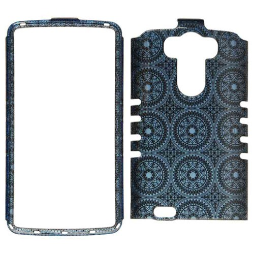 Rocker Series Snap-On Protector Case for LG G3 (Trans Design/Blue Circular Patterns)