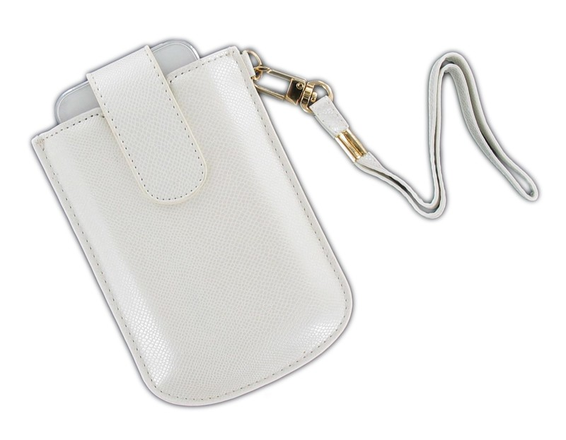 OEM Verizon Universal Vertical Leather Pouch with Strap for iPhone 5, iPhone 4S, iPhone 4, iPhone 3GS, iPhone 3G (White)