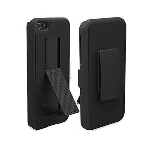 Puregear Rubberized Ribbed Texture Shell And Holster With Kickstand Belt Clip for Apple Iphone 5 (Black) - 02-001-01851