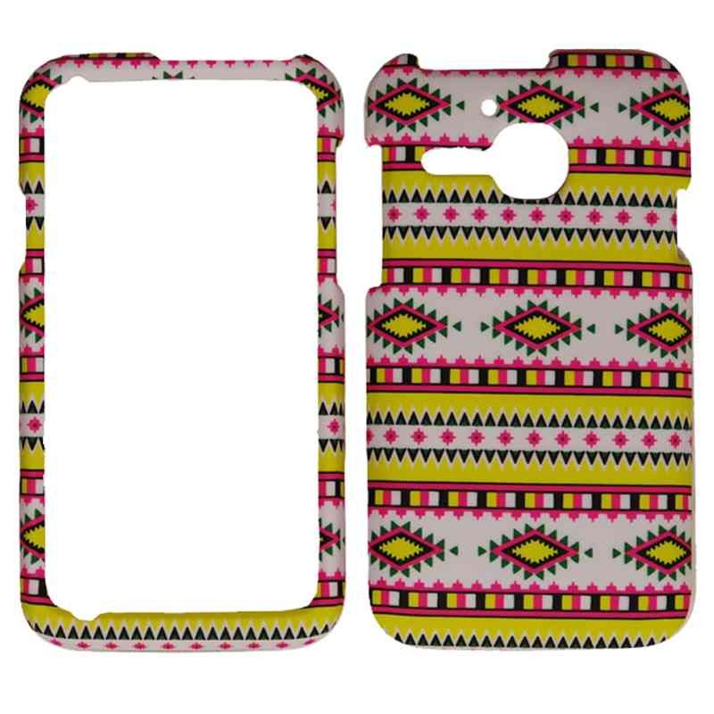 Snap-On Case for Alcatel one touch Evolve - Lines Dots and Diamonds Tribal Pattern