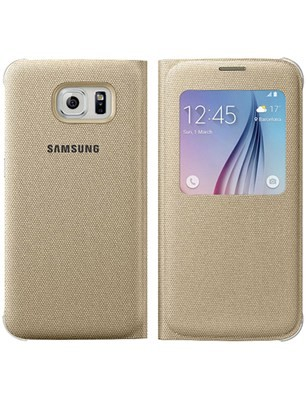 best loved 7c640 aa009 Samsung S-View Flip Cover Case for Samsung Galaxy S6 - Gold Fabric