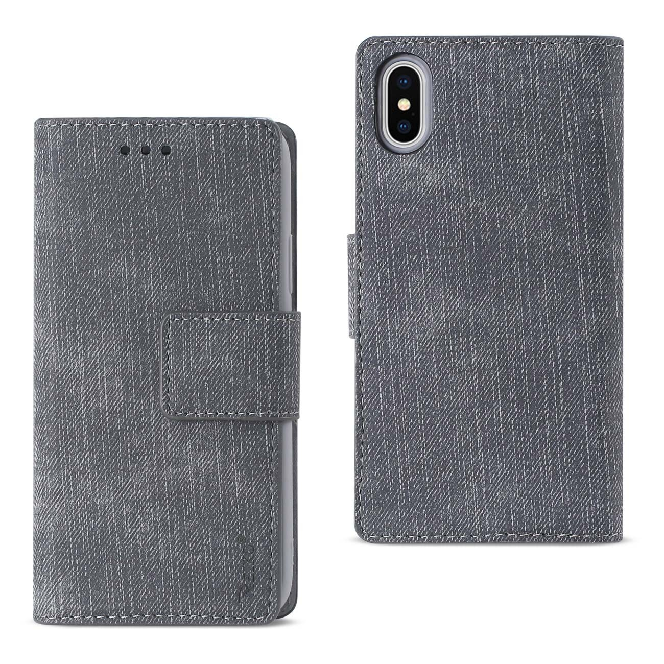 Reiko iPhone X Denim Wallet Case With Gummy Inner Shell And Kickstand Function In Gray