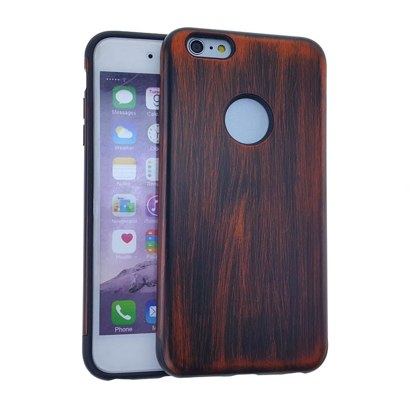Slim Hybrid Case. Black Skin & Wood Pattern Snap
