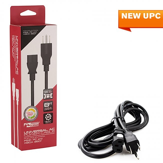 KMD - 8 FT Universal  AC Power Cable for PS3/PC/Xbox 360