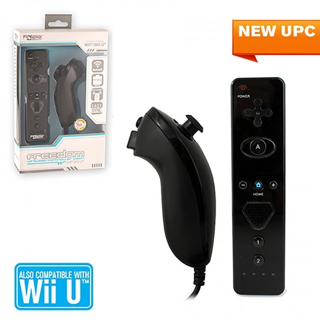 KMD - Nunchuk & Freedom Remote With Action Plus Bundle Wireless Controller Pack for Wii/Wii U - Black