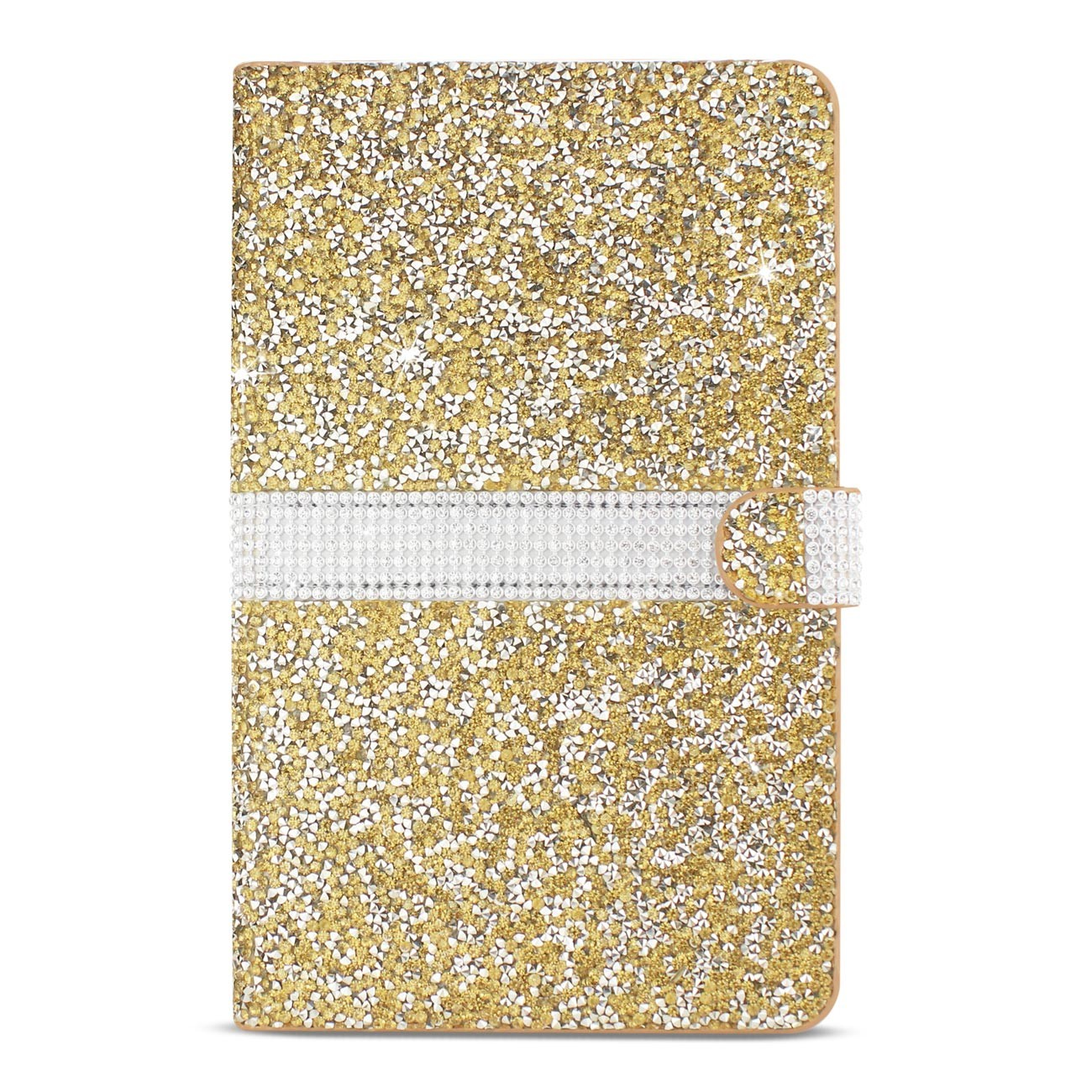 Diamond Rhinestone Wallet Case For 8 Inch Tablets In Gold