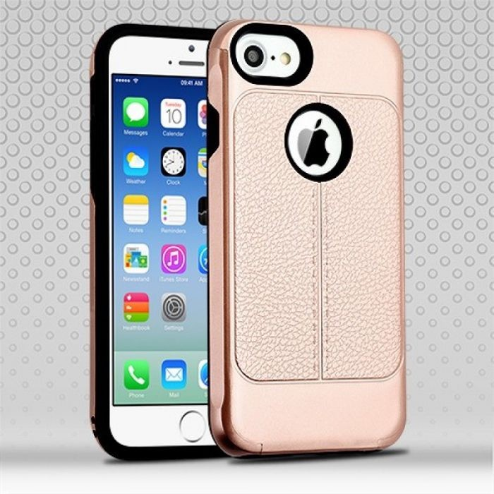 APPLE IPHONE 6/6S LEATHER TEXTURE/BLACK HYBRID PROTECTOR CASE-ROSE GOLD